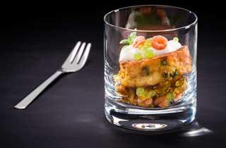 Reiscracker mit Shrimps und Cremé fraiche